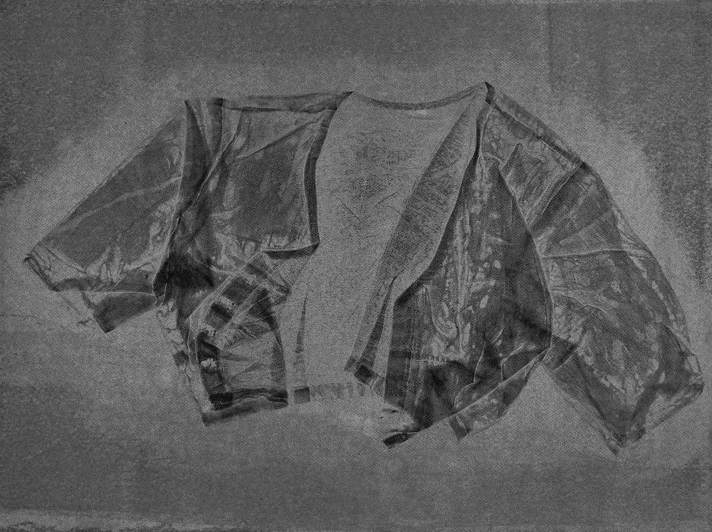 Blouse V , 2016, relief monoprint, offset ink on Canson Black Mie Tints Pastel Noir 160gsm, 50.4 x 65 cm
