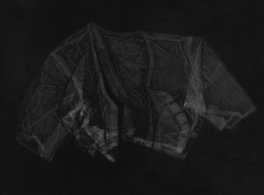 Blouse II , 2016, relief monoprint, offset ink on Canson Black Mie Tints Pastel Noir 160gsm, 50.4 x 65 cm