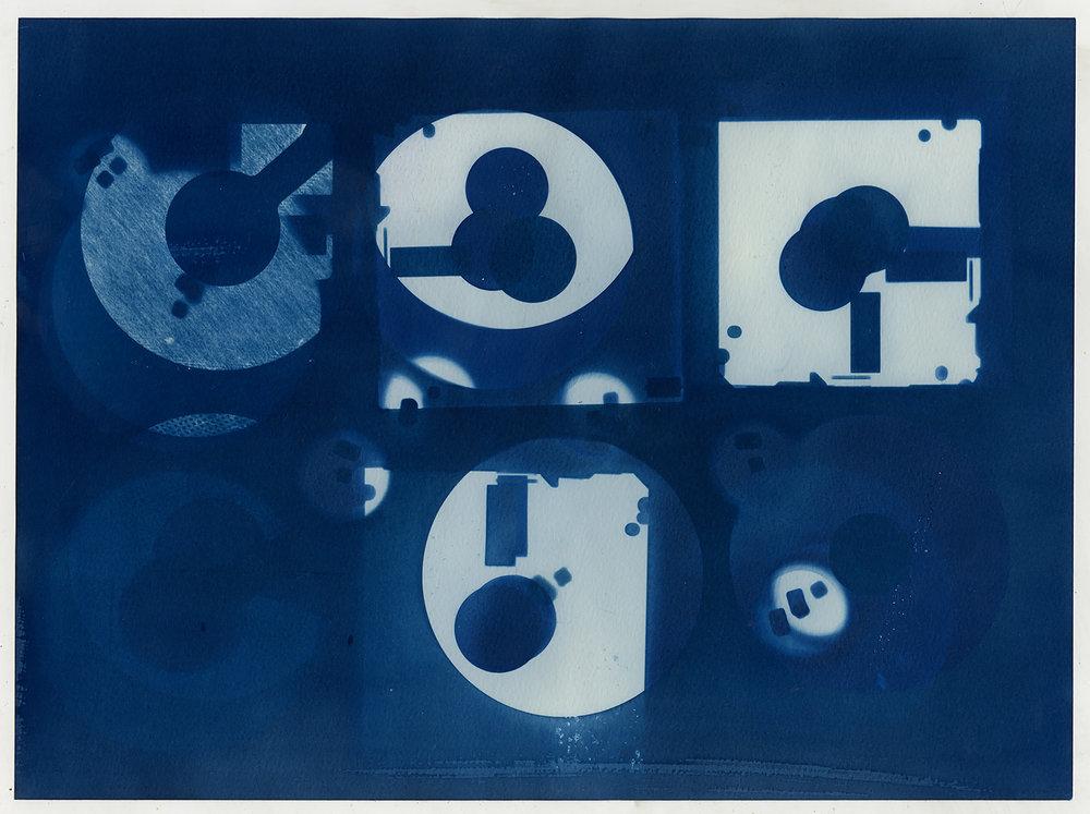 Diskette  (study VII), 2016, cyanotype, 24 x 32 cm