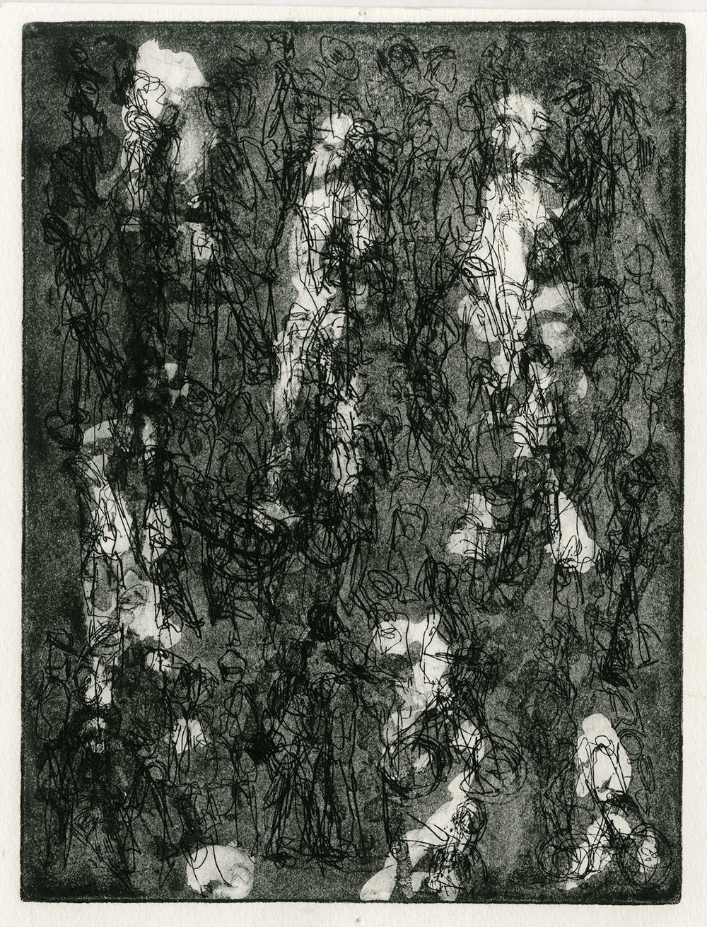 one plate  state IV, 2015, zinc etching on Hanhnemuhle, 20 x 15 cm