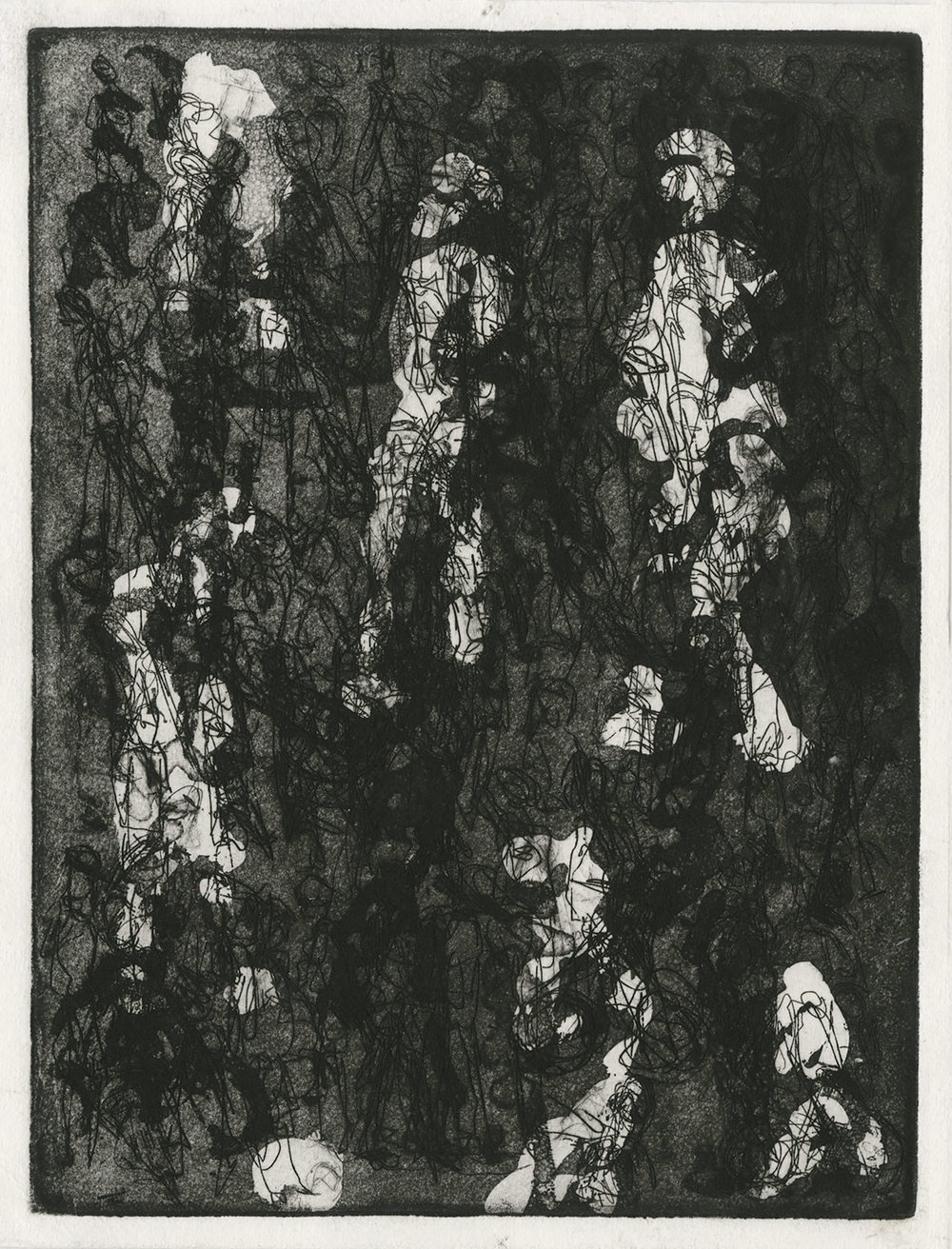 one plate  state V, 2015, zinc etching on Hanhnemuhle, 20 x 15 cm