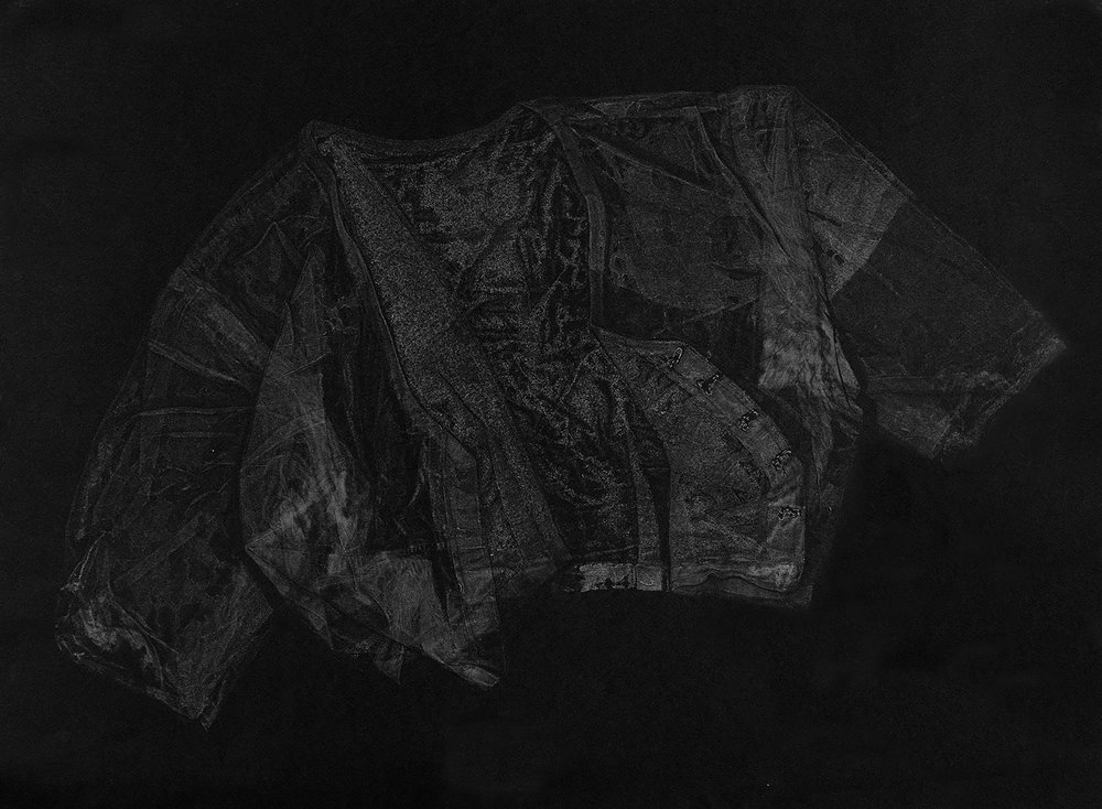 Blouse III , 2016, relief monoprint, offset ink on Canson Black Mie Tints Pastel Noir 160gsm, 50.4 x 65 cm