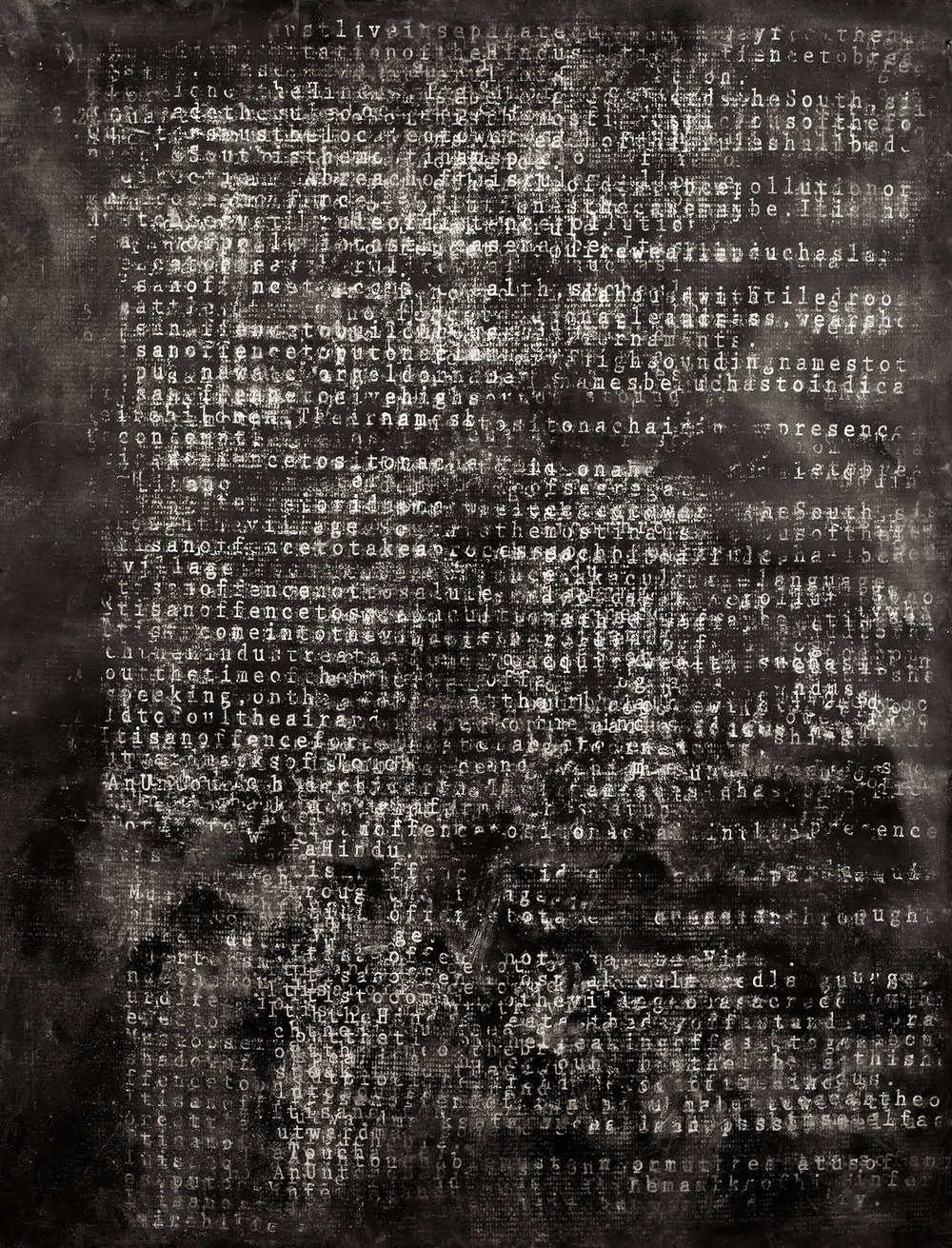 Pariah  (study), 2016, silkscreened chalk dust on Fabriano Artistico 300gsm, 200 x 150 cm