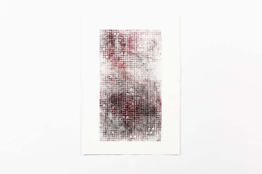 rites , 2018, silkscreened vermillion and black pigment on zinc embossing, 110 x 80 cm