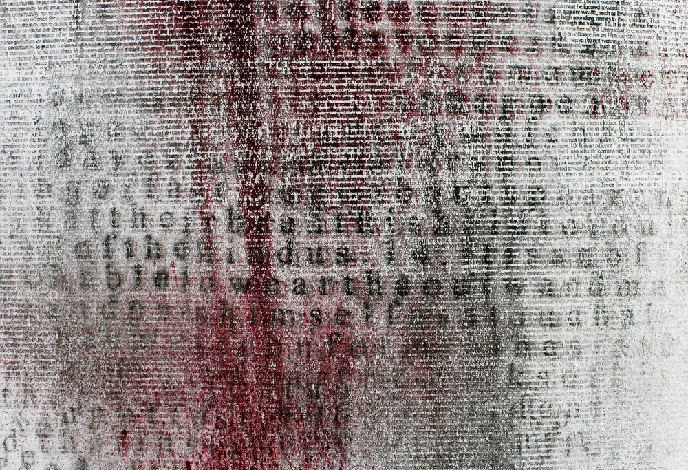 Annihilation  (detail, silkscreened vermillion and black pigment on zinc embossing), 110 x 80 cm