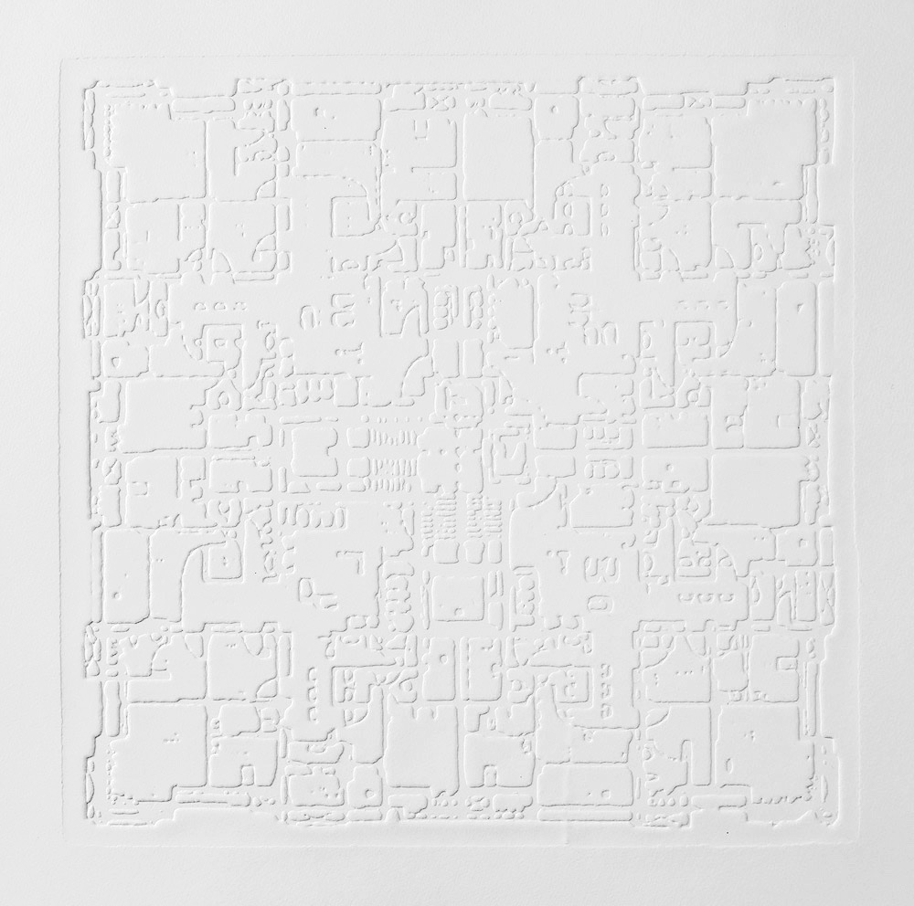 Groundwork II , 2016, zinc embossing on Hahnemuhle paper, 25 x 25 cm