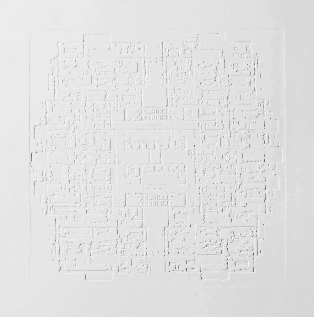 Groundwork III , 2016, zinc embossing on Hahnemuhle paper, 25 x 25 cm