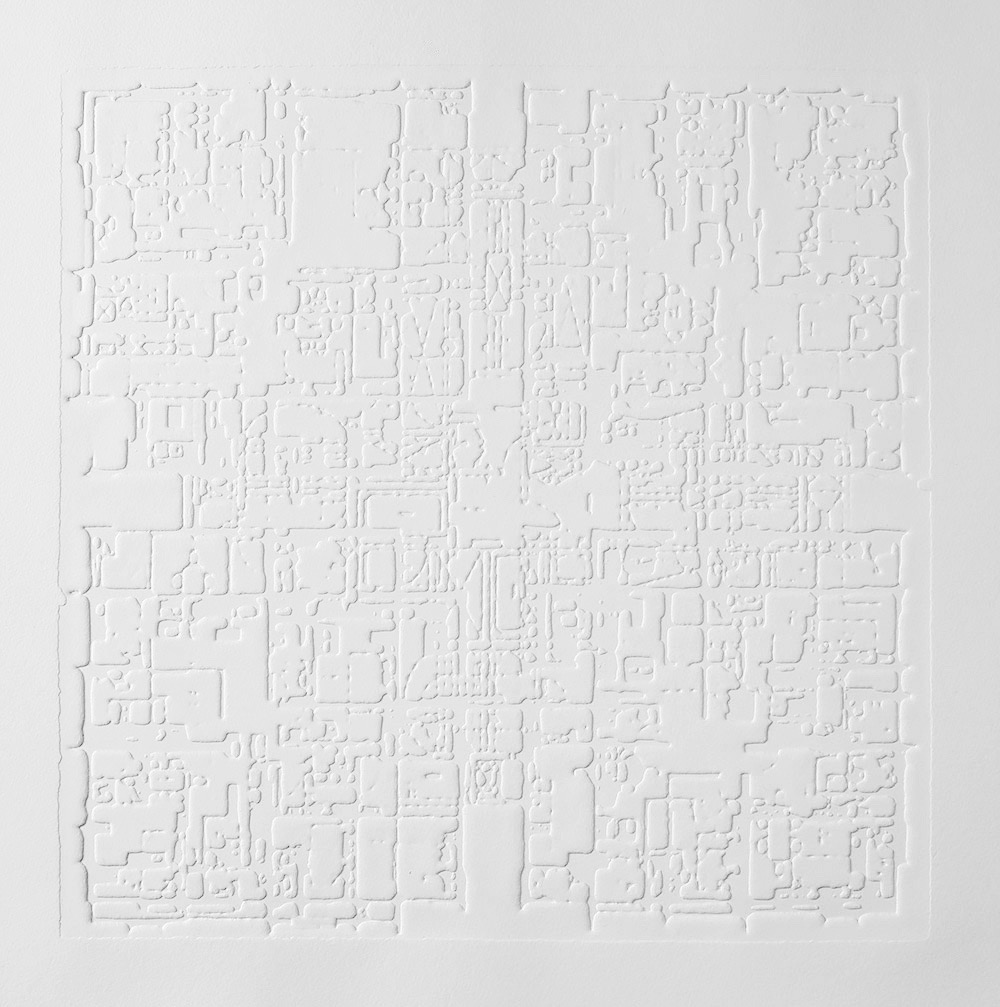 Groundwork IV , 2016, zinc embossing on Hahnemuhle paper, 25 x 25 cm