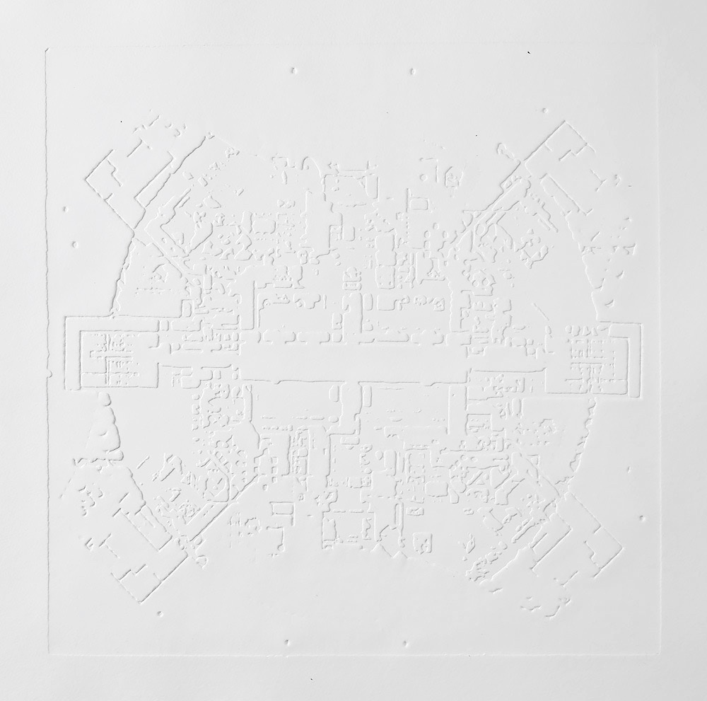 Groundwork V , 2016, zinc embossing on Hahnemuhle paper, 25 x 25 cm