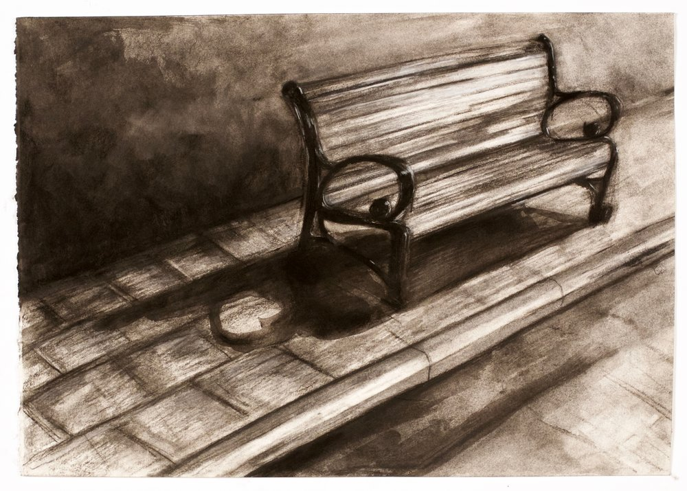collected space III , 2015, charcoal and goache, 42 x 59.4 cm