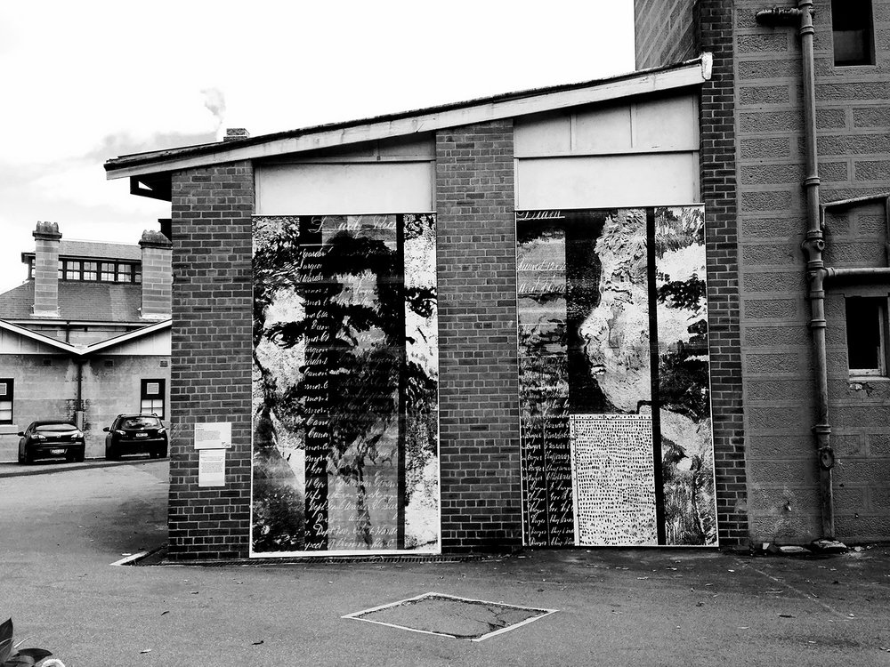 Indigenous Prisoners of Darlinghurst Gaol,  National Art School Wall Mural, 2016, paste-up monoprints, each panel size 391 x 219 cm