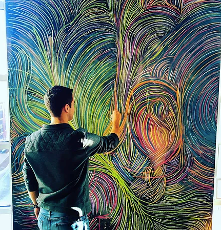 Ricardo Real | Painter    Ricardo Real is a Panamanian abstract painter currently at a tech startup in D.C. Inspired by the culture, views, and tropical nature of his home country, he creates abstract paintings using vibrant, Caribbean tones, scraping paint and applying mixed media to canvases. Ricardo exposes the nature and complexities of positive thoughts, 'saudades', and memories.