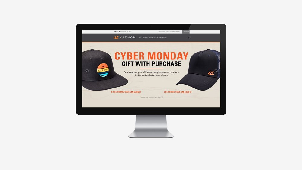 Kaenon: Cyber Monday Ecommerce Promotion