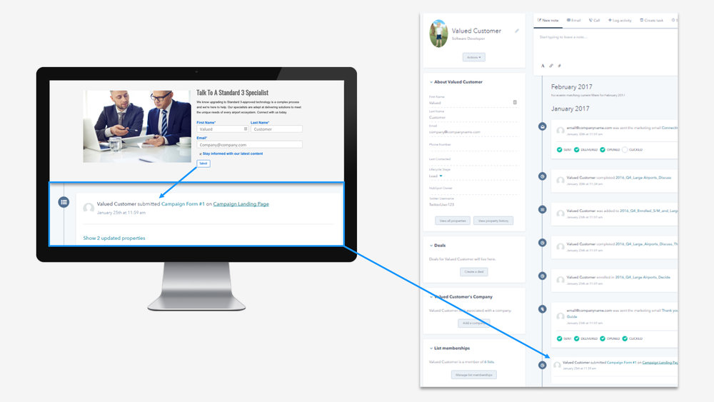 Smiths Detection: User data added to timeline in contact's recorded in the CRM.
