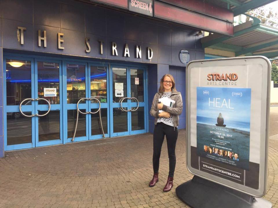 Amy Harron in front of The Strand Arts Theatre for her Belfast premiere.