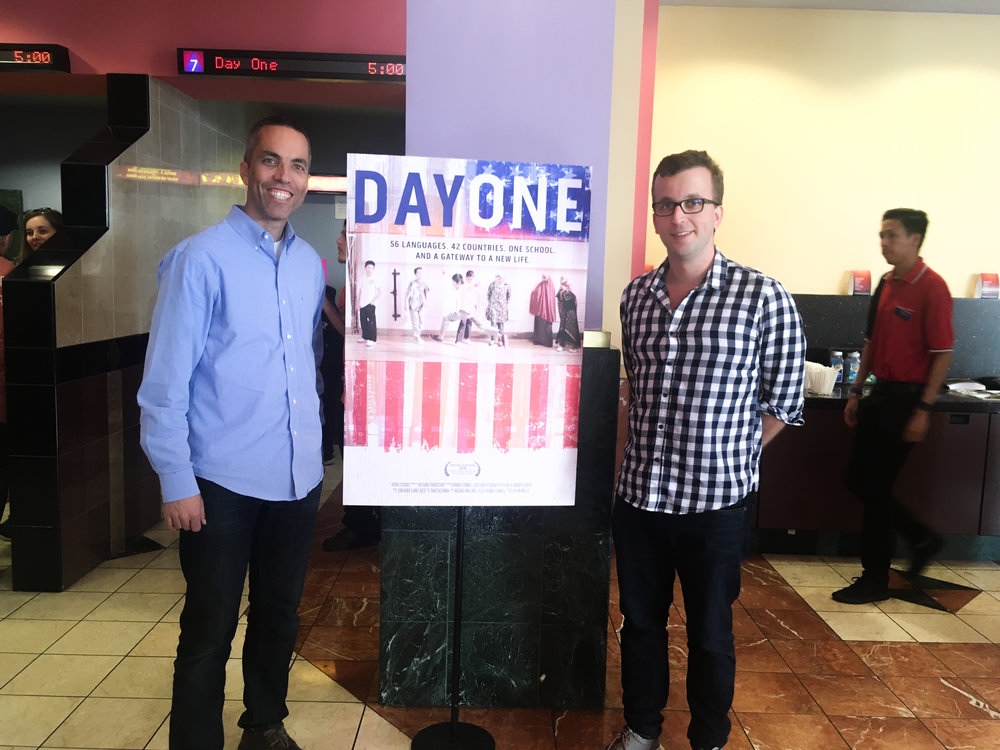Hydro Studios' Director of Entertainment, Kirt Eftekhar and Editor David Beerman are all smiles in front of our newly printed Day One poster.