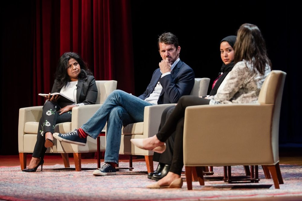 CARE Chef Advocate Asha Gomez, Director Thomas Morgan, CARE Egypt's Iman El-Mahdi and Julia Kent, Strategic Partnerships Director for CARE, contributing to the post-screening discussion of  Soufra .