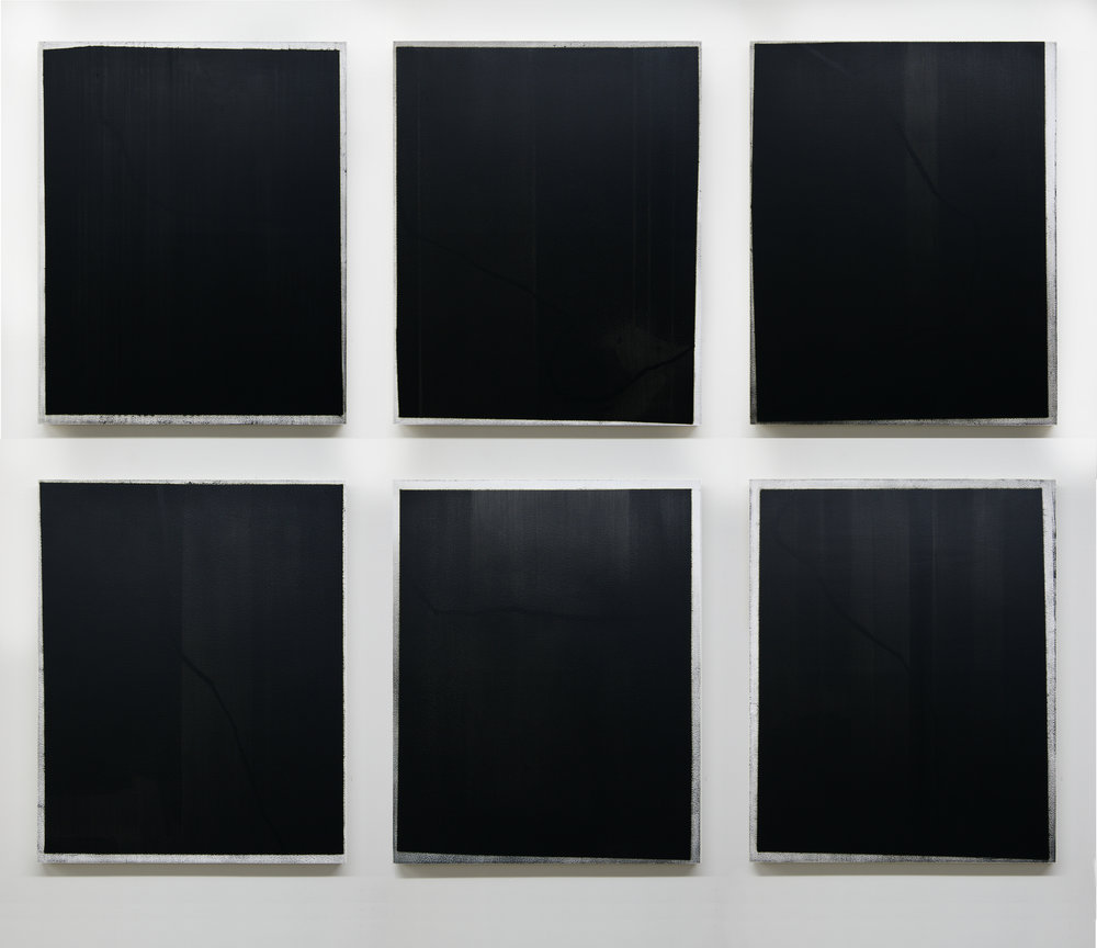 Black Route I-VI, 2015 (Installation view)  Acrylic on panel, 30 x 24 inches each