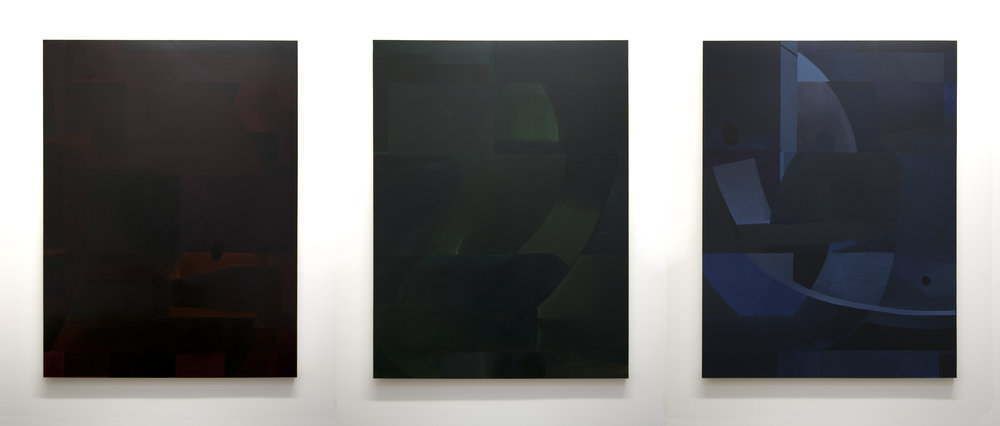 The Warnings and the Signs (Red, Green, Blue), 2014 (Installation view)  Acrylic on panel, 48 x 36 inches each