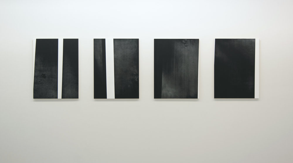 Fugitive I-IV, 2012 (Installation view)  Acrylic on panel, 24 x 18 inches each