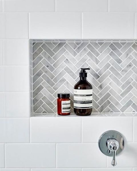 Studying up on tile patterns this week! 🤔 We think we found a winner with this Herringbone ❤
