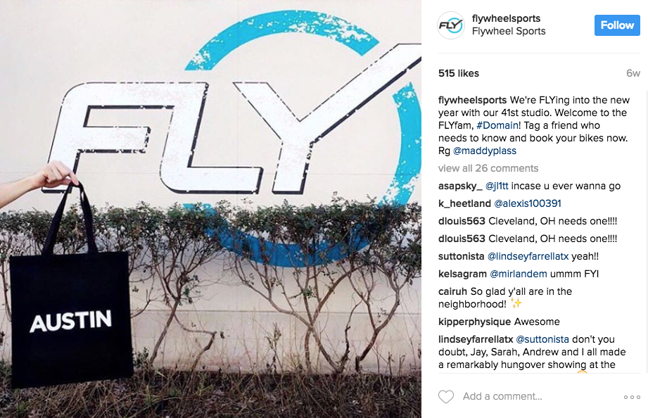 FlyWheel Sports posts a candid, but artful shot while getting their local fans excited for the opening of a new studio.