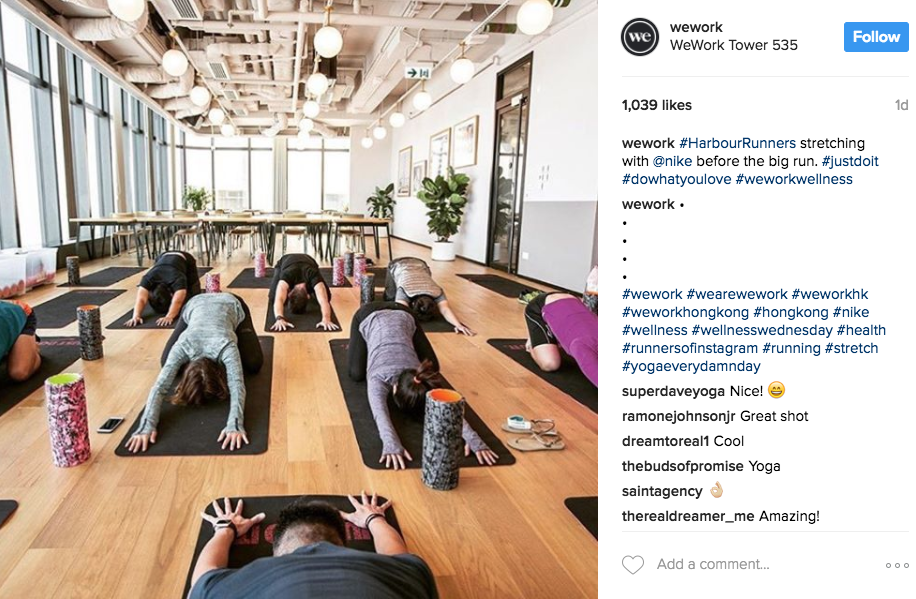 WeWork uses hashtags to label their events—like #WWCamp—and to encourage customers to share their own photos of the spaces.