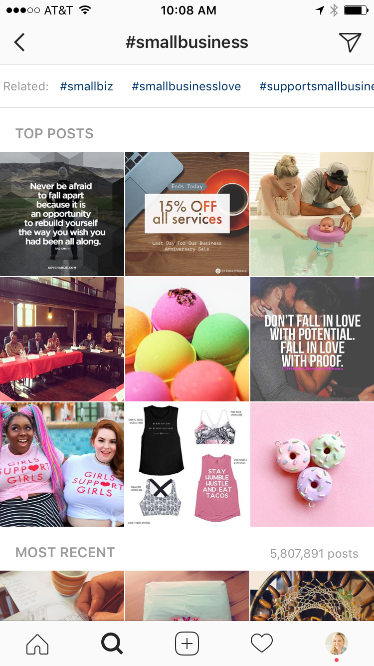 In this example, I found that #smallbusinesslove and #smallbusinessowner were two hashtags I'd been neglecting.