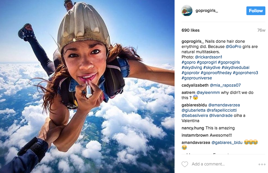 Don't forget to tell followers in your bio how to be featured:GOPRO GIRLS For the girls with messy hair & thirsty hearts. Tag  @goprogirls_ & #goprogirls to be featured!