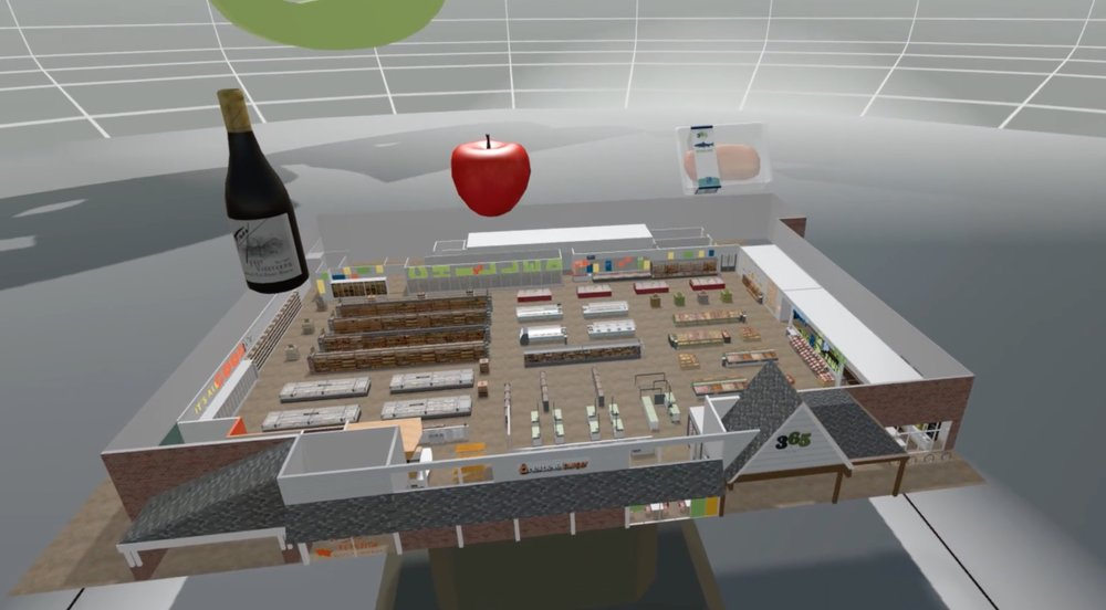 Point of view of VR experience showing diagram of entire Whole Foods 365 store