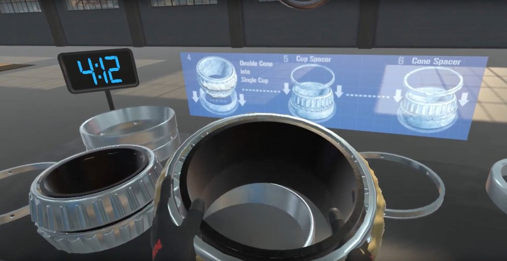 Screen shot of VR game as NSK bearing is assembled.