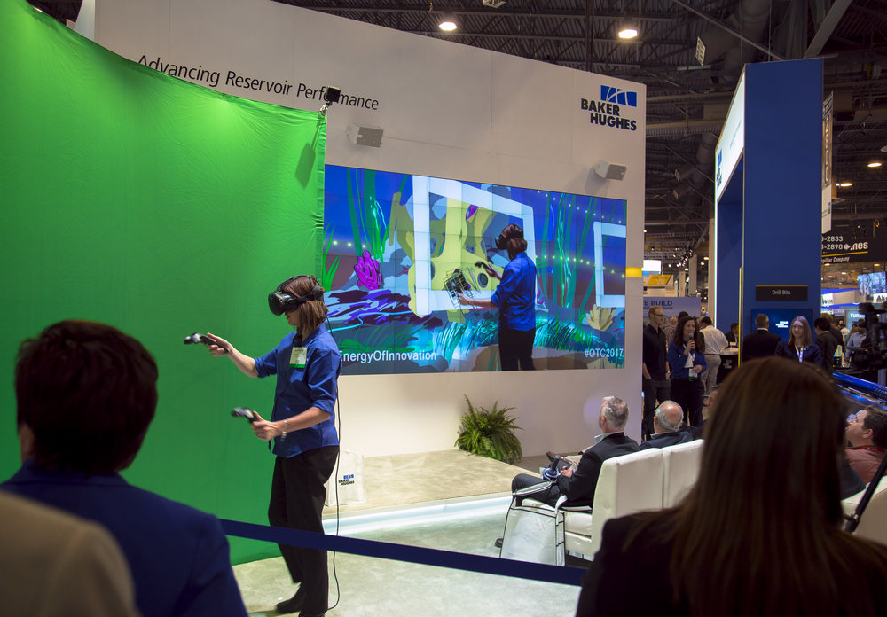 VR Mixed Reality during OTC-offshore technology conference- using tilt brush to paint products offered by baker hughes