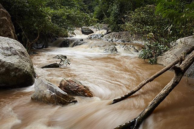 After the rainy season the Mae Sa waterfalls are a rich brown from all the dirt being thrown around by the surging waters.