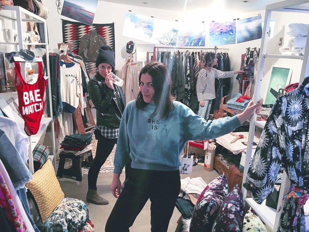 """Lauren Shapiro in the Masculine de La FEMME """"SHE IS"""" Vintage Sweater, accompanied by the lovely Maggie Davis"""