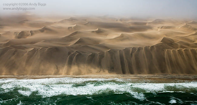 Aerial photograph of Skeleton Coast of Namibia.