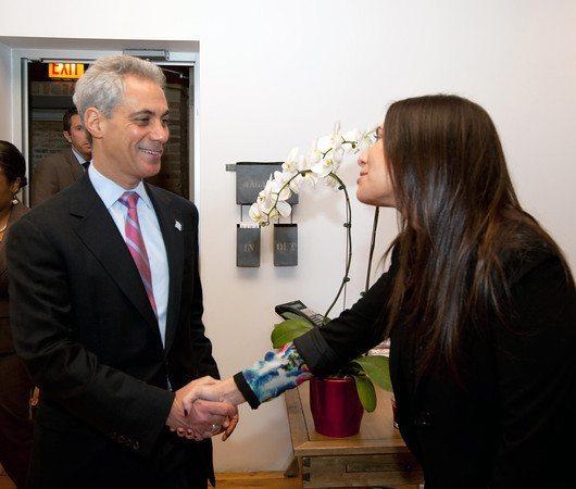 Zapwater VP Annie Block welcomes Mayor Emanuel to our West Loop Office