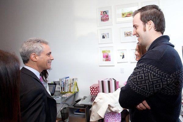 Mayor Emanuel talking with Michael Corrigan and Jenn Lake