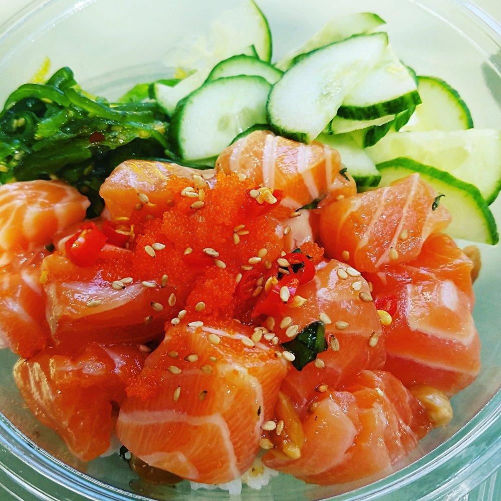 1. Salmon Thaiviche - Pokeology - Salmon, Fish Sauce Marinade, Basil, Garlic, Peanuts, Thai Chili