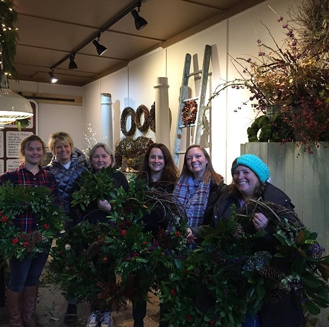 Another fun wreath class.  Special shout out to Brook for providing the Bay laurel which was a big hit . Still room in the 12/9 class!  #wreathclass #seattlewreathclass# Bainbridgewreathclass