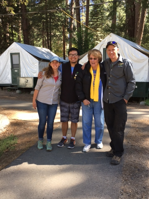 Sister Ann McGowan pictured with NatureBridge leaders Lizzy, Jose and Mark.