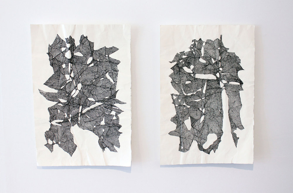 Left: Talitha Kennedy, A fragile mess of contact (Peel), 2017. Ink on paper. 42 x 59 cm. Right: Talitha Kennedy, A fragile mess of contact (Flay), 2017. Ink on paper. 42 x 59 cm.