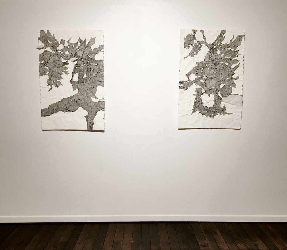 Left: Talitha Kennedy, A fragile mess of contact (Splay), 2017. Ink on paper. 85 x 60 cm. Right: Talitha Kennedy, A fragile mess of contact (Flay), 2017. Ink on paper. 85 x 60 cm.