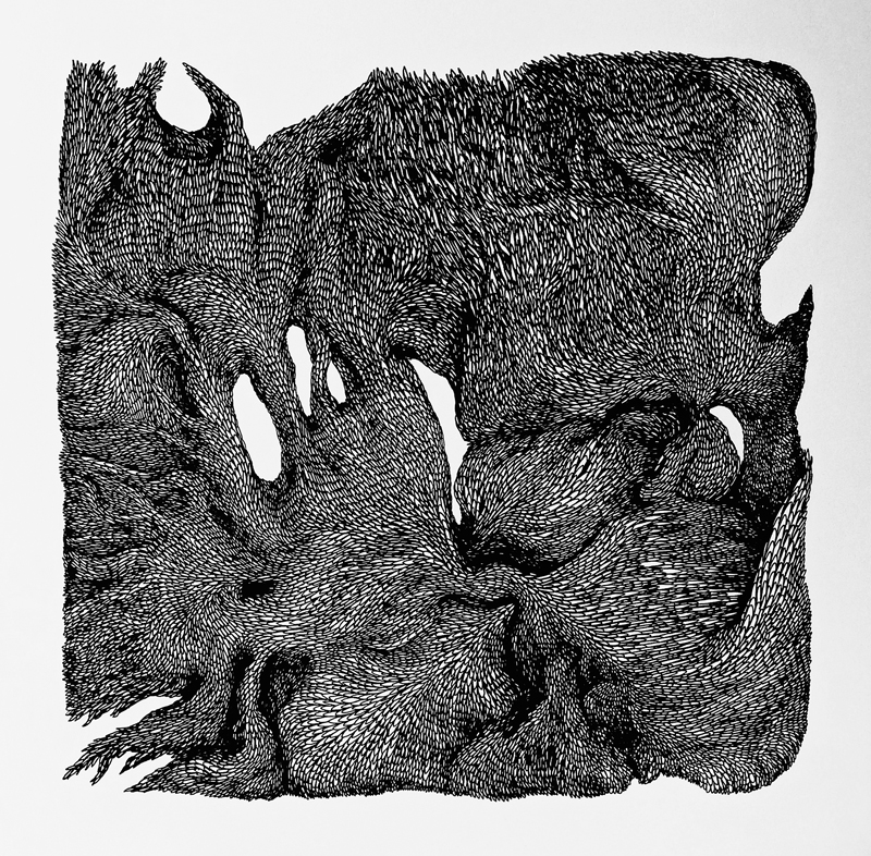 Talitha Kennedy,  Smother in moss , 2014. Ink on paper. 42 x 42cm.