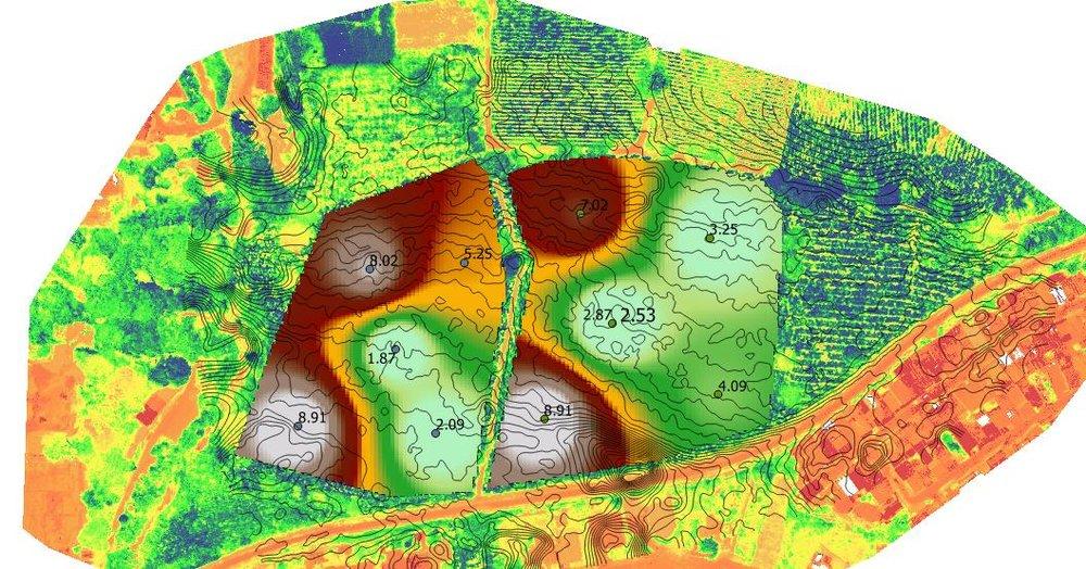 Mapa de suelos de concentración de calcio