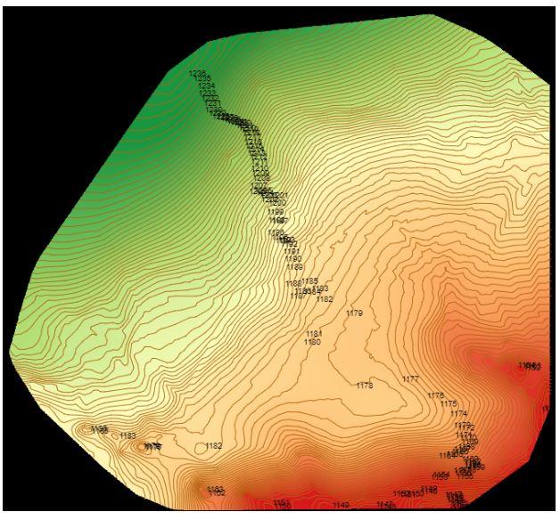 DTM:Modelo Digital del Terreno - Es un modelo topográfico de la tierra desnuda que puede ser manipulado por los programas informáticos. Los ficheros de datos contienen los datos de elevación espacial del terreno en formato digital. En este reporte, esta representado con laescala de Verde (mas alto) a Rojo (mas bajo).