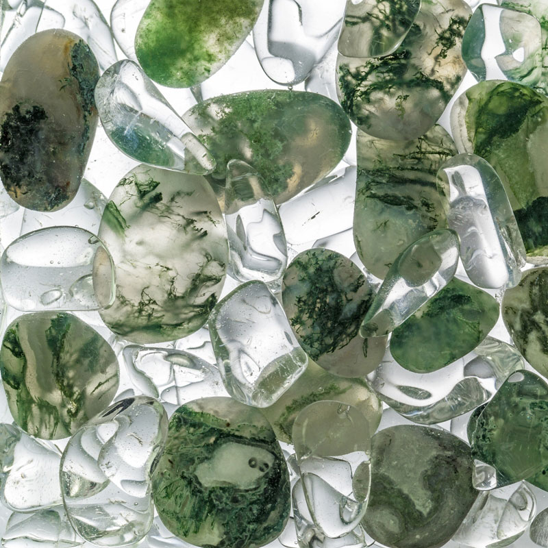 Moss Agate & Clear Quartz Gem-Water Blend for Tea