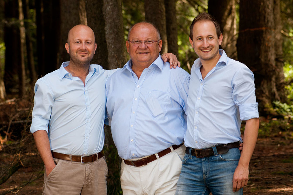 Founder Ewald Eisen, center, with his sons Jan (L) and Daniel (R)