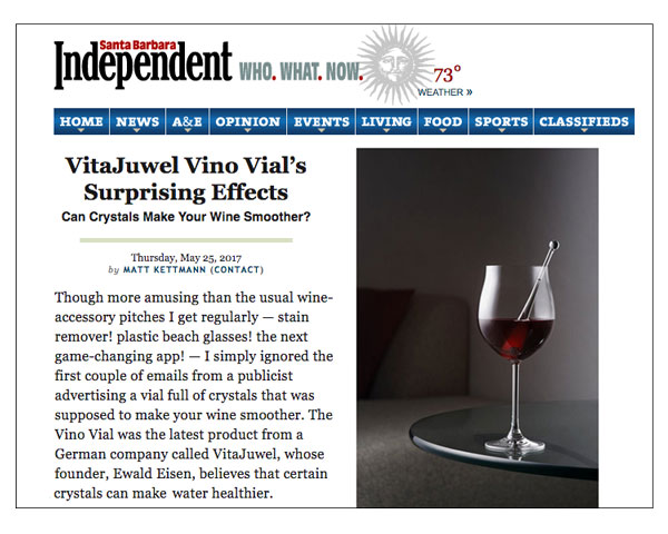 Santa Barbara Independent: Vitajuwel Vino Vial's Surprising Effects