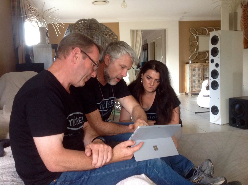 Richter's Brian Rogers, Dr Martin Gosnell, Rachelle Gosnell in design mode...