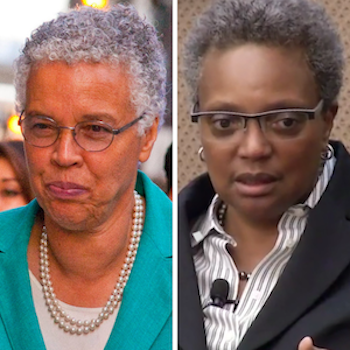 Lori Lightfoot (right) and Toni Preckwinkle, run-off candidates for mayor of Chicago